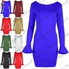 Round Neck Stretch Long Sleeve Dresses for Women