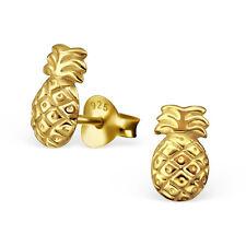 Argento Sterling 925 Placcato Oro Orecchini a Perno ANANAS