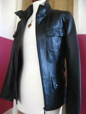Ladies NEXT black real leather JACKET COAT size UK 14 12 belted biker SAFARI
