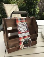 Natural Wooden 6 Beer Bottle Holder Carrier with Opener Caddy Crate Gift Dad