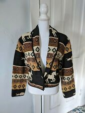 90s Horses Western Cropped Jacket Women's Medium Brown Southwestern Long Sleeve