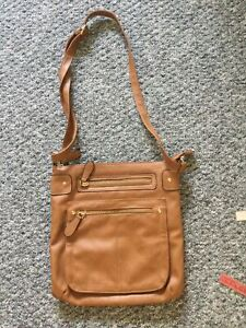 Tan Brown Shoulder Bag Cross Body Small Faux Leather Adjustable Strap