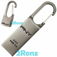 PNY Loop Turbo 64GB 64G USB 3.0 Flash Drive Disk Hinge Hook Clip Carabiner Metal