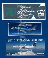 THREE OFFICIAL ALASKA AIRLINES LOTS BOEING STICKERS