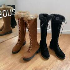 Womens Fashion Faux Suede Rabbit Fur Lace Up Mid Heel Knee High Boots Shoes SKGB