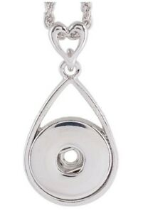 Silver Heart Top Pendant 18-20mm Snap Charm Necklace For Ginger Snaps