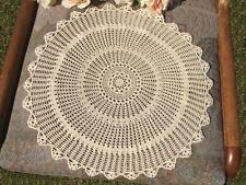 Vintage Beige Fine Cotton Yarn Hand Crochet Lace Doily/Table Mat Round 38cm