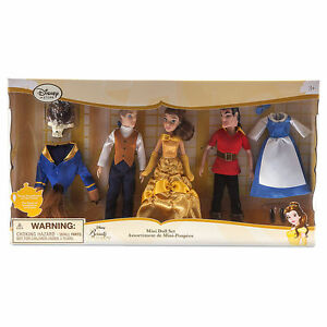 Authentic Disney Beauty and the Beast Mini Doll Set Belle Beast Gaston Prince