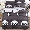 Panda Print Fashion Coffee Bedding Set Duvet Cover+Sheet+Pillow Case Four-Piece
