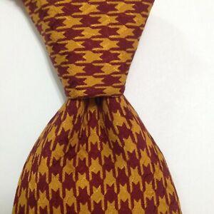 DOLCE & GABBANA Men's 100% Silk Necktie ITALY Luxury HOUNDSTOOTH Red/Orange EUC