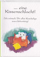 Grußkarte: Bobbl- Schaf: Zu Deinem Geburtstag schenk ich Dir eine Kissenschlacht