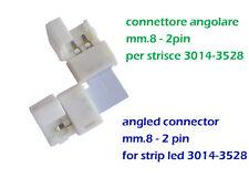 Connettore angolare mm.8 a 2 pin x strisce led colore singolo, chiusura a scatto