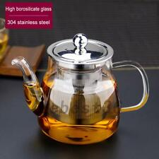 600ml Heat Resistant Glass Teapot with Strainer Filter Infuser Tea Pot Kitchen