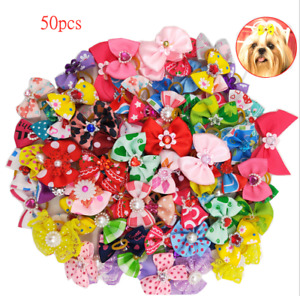 NEW 50pcs Lot Assorted Pet Cat Dog Hair Bows With Rubber Bands Hair Grooming