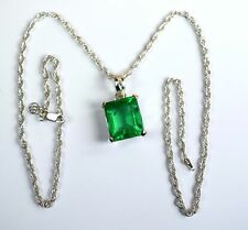 10-12 Ct Emerald Cut Emerald 925 Sterling Silver Pendant with Chain