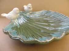 Ceramic Glazed Birdbath Perched Birds on Shell No Shipping = local pickup only