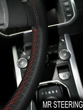 FOR LEXUS LS 400 95-00 BLACK LEATHER STEERING WHEEL COVER DARK RED DOUBLE STITCH
