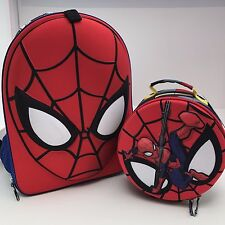 Disney Store Spiderman 3D Dementional Mask Boys Backpack Lunch Tote School Bag