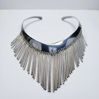 Sterling Silver 925 Vintage Collar Necklace with Silver Dangle Rods