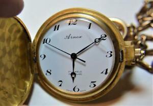 VTG Arnex 17j Incabloc Full Hunter Swiss Made Gold Tone Pocket watch SERVICED