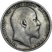 1908 SHILLING - EDWARD VII BRITISH SILVER COIN