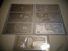 LOT OF 7 -SILVER BILLS $1-2-5-10-20-50-100 DOLLAR SET/ EACH IN HARD BILL HOLDER.