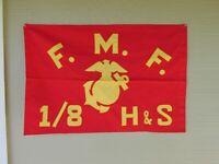 USMC flag Fleet Marine Force 1/8  H & S theater made US Marines FMF