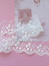 White Tulle Lace  Embroidered Dainty 42 mm Wedding Trim Craft Veil