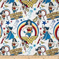 WONDER WOMAN CHARACTER TOSS DC COMICS PRINT 100% COTTON  FABRIC BY THE 1/2 YARD