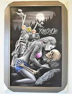 Ride or Die Skeleton Biker 22 x 34 Print with Classic Gray Wood Frame