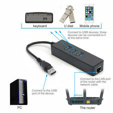 3 Port USB 3.0 Gigabit Ethernet Lan RJ45 Network Adapter Hub to 1000Mbps PC