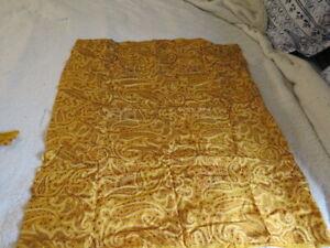 antique textile yellow paisley silk craft doll bear dress vintage 100% silk