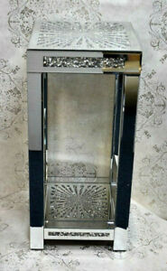 Diamond Crush Star Mirrored Sparkly Crystal Glass Silver Side Stand Table, Home