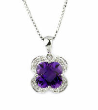 1.94 Carat Amethyst and Diamond Pendant - 18K White Gold PDT250006