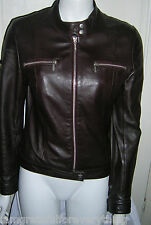 VINTAGE TOPSHOP  100 % REAL LEATHER BURGANDY BIKER JACKET UK SIZE 10 EUR 38 US 6