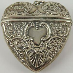 VINTAGE HEART SHAPED FLORAL REPOUSSE STERLING SILVER CHATELAINE PENDANT PILL BOX