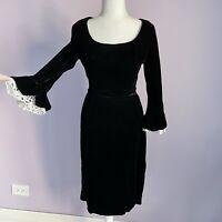 Vintage 50s 60s Ann Barry Size Medium Black Velvet Wiggle Dress Lace Bell Sleeve