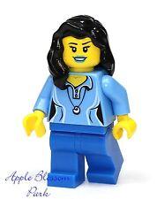 NEW Lego City FEMALE MINIFIG Girl w/Med Blue Torso & Lip Stick Lips & Black Hair