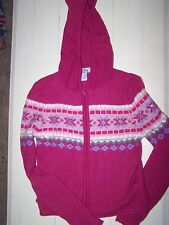 NEW  PINK ZIP FRONT HOODED SWEATER WITH SEQUINS ON THE SNOWFLAKE PATTERN