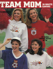 TEAM MOM IN WASTE CANVAS CROSS STITCH PATTERN BOOK SOCCER, BASKETBALL, FOOTBALL