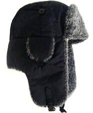 MENS USHANKA HAT winter black & grey fur trapper Gents large warm hiking Ushanka
