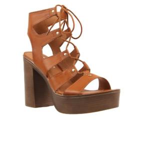 London Rebel 'Kendal' Tan Platform Heels - Size: 6