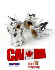 4Pcs Car Silver Chrome Crown Tire Tyre Wheel Valve Stems Air Dust Cover Caps
