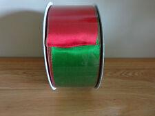 "5 METRI Kirkland Rosso/Verde Reversibile FILO TAGLIO Natale Nastro 6.3cm/2.5 ""wide."