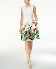 NEW Calvin Klein Floral Print Birds of Paradise Fit & Flare Scuba Dress Size12