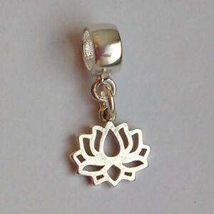 LOTUS flower- Solid 925 sterling silver European dangle charm bead/ Pendant