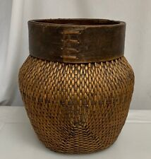 Old Chinese Large Woven Basket with Bentwood Rim - 59971