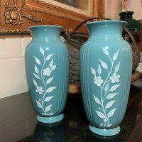 "2 Lenox Vintage Blue 9 1/4"" Embossed & Ribbed Vases Green Mark USA #3172 - MINT"
