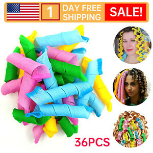 36Pcs Reusable Twist Spiral with Hook Rollers Magic Hair Curlers No Harm Tool C2