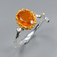 Orange Opal Ring Silver 925 Sterling Jewelry Handmade Size 7.75 /R142663